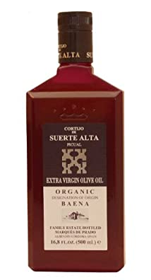 Cortijo de Suerte Alta Picual- Award Winning, NOP Organic Certified, Cold Pressed EVOO Extra Virgin Olive Oil,2013-2014 Harvest, 17-Ounce Glass Bottle