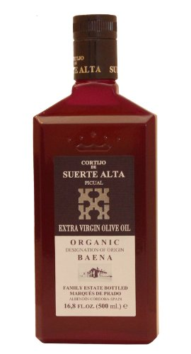 Cortijo de Suerte Alta Picual- Award Winning, NOP Organic Certified, Cold Pressed EVOO Extra Virgin Olive Oil,2012-2013 Harvest, 17-Ounce Glass Bottle
