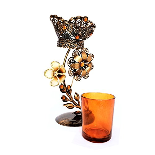 AusleseTM Hand Crafted Single Stand Metal Votive Candle Holder-9 Inch