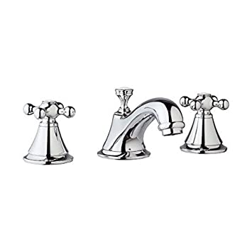 Grohe Seabury 8 inch Widespread Starlight Chrome Finish Low-Arc Bathroom Sink Faucet INCLUDES Two Metal Cross Handles and Free pop-up Drain GR135PK