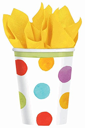Amscan Disposable Paper Cups in Watercolor Polka Dots (18 Pack), 9 oz, Multicolored