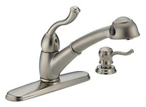 Saxony single handle pullout kitchen faucet