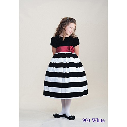 Crayon Kids Little Girls White Stripe Special Occasion Dress 4T front-589795