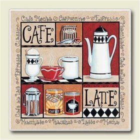 AbsorbaStone Coaster set ~ Caffe Latte Coffee ~ 4 Tile Drink Coasters ~ code 270