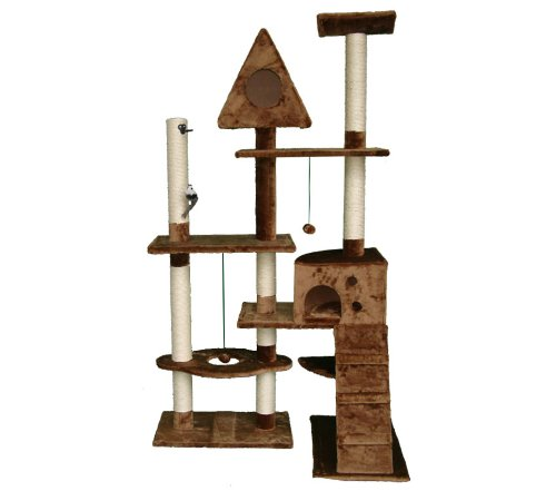Deluxe Multi Level Cat Scratcher Cat Tree Activity Centre Scratching Post with 2 Caves Toys and Sleeping Area 200 Brown Faux Fur 106cm x 60cm x 180cm