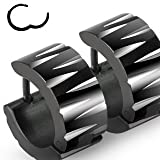 "316L Stainless Steel Black ""Hinged Snap"" Huggie Earrings with Faceted Cuts - 13mm Length, 7mm Width - Sold as a Pair"
