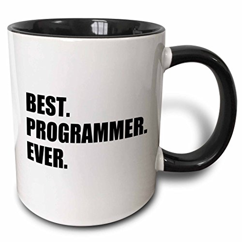 3dRose Best Programmer Ever, Fun Gift for Talented Computer Programming, Text Two Tone Black Mug, 11 oz, Black/White