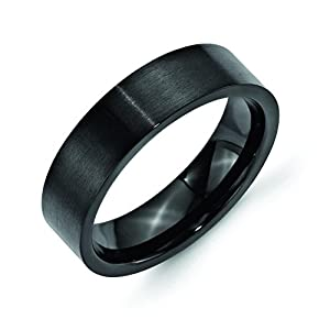 Stainless Steel 6mm Black Ip-Plated Brushed Flat Band, Size 6.5