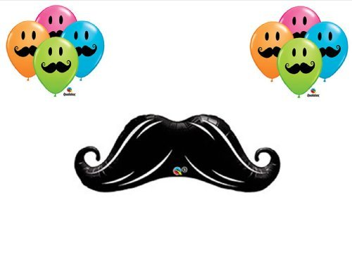 Mustache Smile Face Birthday Party Balloons Decorations Supplies Lil Man Shower
