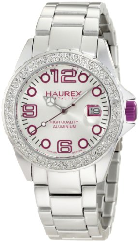 Haurex Italy Women's Quartz Watch with Black Dial Analogue Display and Multicolour Stainless Steel Stones XK374DWP Ink