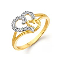 Meenaz Gold & Rhodium Plated American Diamond Cz Ring For Girls,Couple And Women Fr401