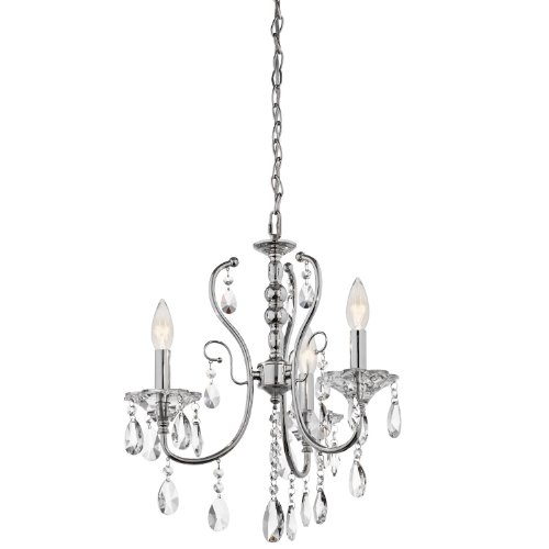 Kichler Lighting 43120CH Jules 3-Light Mini-Chandelier, Chrome Finish with Crystal Accents
