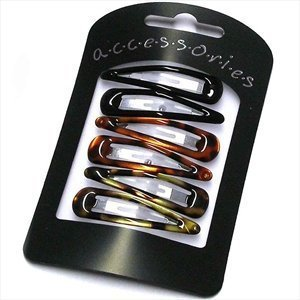 6-pieces-black-tort-snap-clip-5cm-by-amber