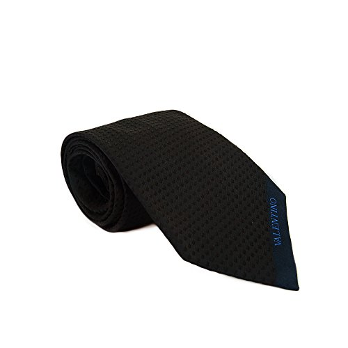 Valentino Vac85L Vc813 Dark Navy Woven 100% Silk Men'S Tie front-126770