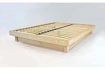 ABC MEUBLES - Lit plateforme bois massif pas cher - PLAT - Vernis Naturel, 160x200