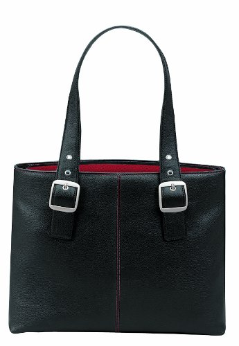 SOLO Classic Collection Ladies Laptop Tote, Padded Compartment Holds Notebook Computer up to 16 Inches, Black, Red Lining, K709-4/17