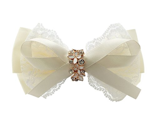 Victoria Cat Flower Girls/ Ladies/ Brides Ivory/ Off-White/ Milky-White Wedding Bling Crystal Lace Hair Bow/ Clip Accessory