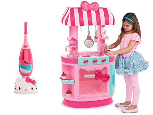 Hello Kitty Kitchen Cafe and Hello Kitty Vacuum Cleaner Playset, Bundle (Hello Kitty Bows V Neck Top compare prices)