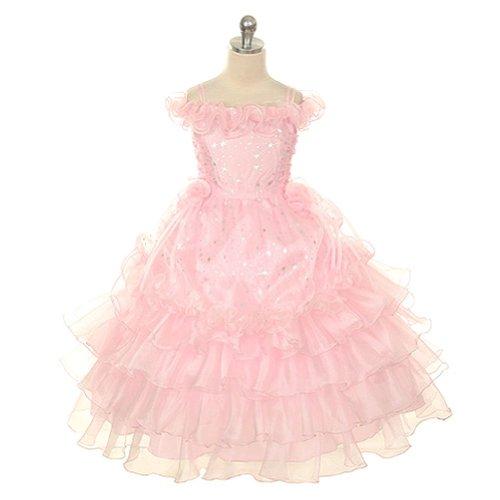 Rain Kids Toddler Girls 2T Pink Stars Off Shoulder Pageant Dress front-959527