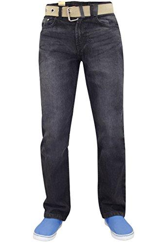 Nuovo da uomo Basic resistente cotone taglio regolare gamba dritta Denim jeans + cintura incluso