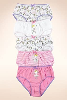 5 Pack - Younger Girls&#39; Pure Cotton Assorted Fairy Briefs