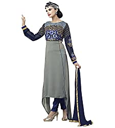 Ethnic Chic grey colored faux georgette suit.