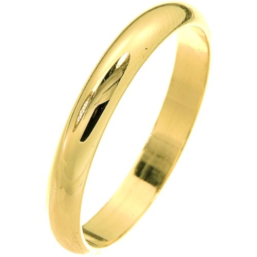 10K Yellow Gold, Light Half Round Wedding Band 3MM (sz 9.5)