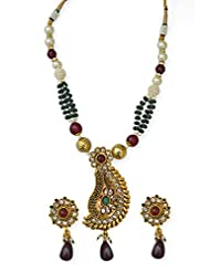 Jewelfin Lovely Pear Design Kundan Style Necklace Set With Maroon Drop For Women