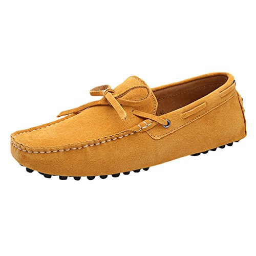 Baymate Mocassini Unisex Scarpe Da Barca Comode Loafers Scarpe Casual Giallo Asia 44 (27cm)