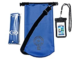 Rugged & Tough Waterproof Dry Bag 10L Dry Sack with Shoulder Strap, Bonus Cell Phone Waterproof Bag & a Storage Bag - Heavy Duty Thermal Welded Marine Grade 500D Tarpaulin Dry Bags -Lifetime Guarantee