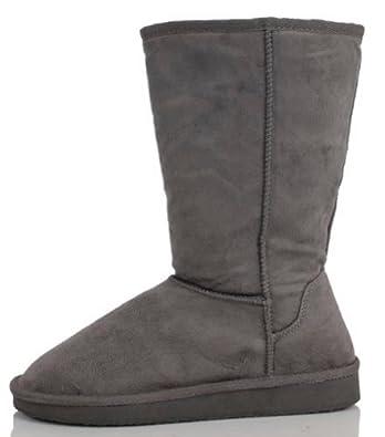 "Womens Boots Mid Calf 12"" Australian Classic Tall Faux Sheepskin Fur 4 Colors,Betty-1 Charcoal 5.5"