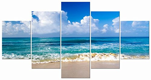 Pyradecor-Seaside-Sea-Beach-Modern-Stretched-and-Framed-Seascape-5-panels-Giclee-Canvas-Prints-Artwork-on-Canvas-Wall-Art-for-Home-Decor