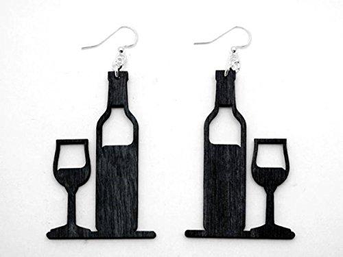 Black Satin Wine Bottle And Glass Wooden Earrings