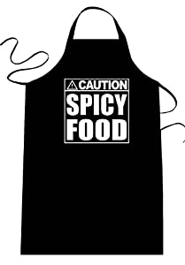 Caution - Spicy Food - Funny Apron Long Length 30 X Full Width 28 Kitchen Aprons For Men Women Teens Unisex One Size Fits Most Cotton Polyester Blend With Adjustable Neck Great Gift Idea by Diva Joy