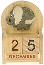 Elefante : Hechos a mano calendario perpetuo de madera. Diversión peculiar de Navidad o idea del regalo de cumpleaños. Presente Comercio Justo (tamaño 10,5 x 7 x 3,5 cm)