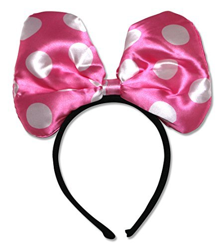 Minnie Inspired Light Pink Polka Dots Large Bow Headband