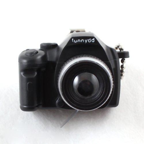 Mini Black SLR Camera Toy Keychain Keyring Flash Torch Charm Ornament Decoration