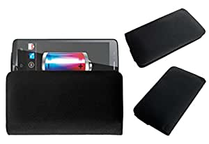 Acm Rich Leather Soft Case For Zen Ultrafone Powermax 1 Mobile Handpouch Cover Carry Black