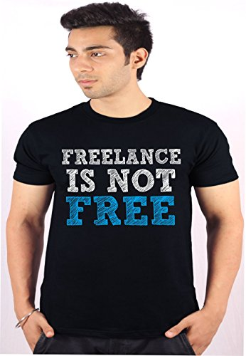 Freelance Enquotism Black Combed Cotton Fabric Round Neck Men Tshirt Freelance Is Not Free Black (Multicolor)