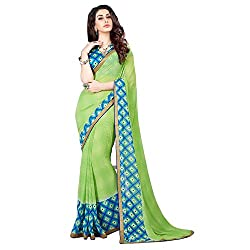 Georgette Saree (Green and Blue)