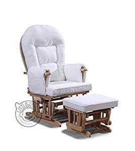 WHITE SUPREMO BAMBINO FABRIC NURSING GLIDER / ROCKER / MATERNITY / FEEDING / GLIDER CHAIR (with Free Footstool & Protective Cover) by Little Devils Direct
