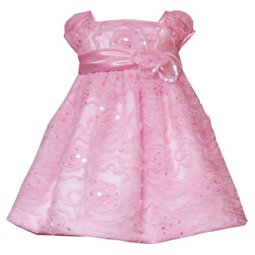 Size-24M RRE-4413E PINK SEQUIN ROSETTE SOUTACHE MESH OVERLAY Special Occasion Wedding Flower Girl Pageant Birthday Party Dress,E144131 Rare Editions INFANT