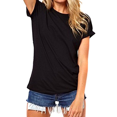 Etang Lady'S Hollow Out Angel Wing Round Neck Casual Blouse T-Shirt Black L
