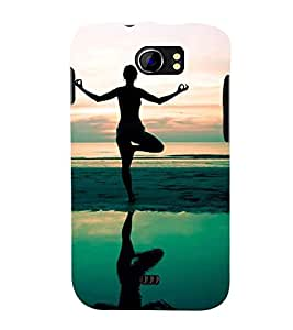 silhoutte of a girl meditating at seaside 3D Hard Polycarbonate Designer Back Case Cover for Micromax Canvas 2 A110::Micromax Canvas 2 Plus A110Q