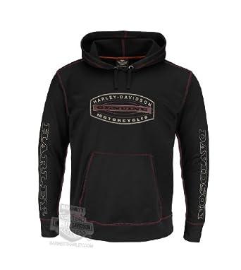 Harley-Davidson Mens Performance Pullover Fleece Black Long Sleeve Hoodie by Harley-Davidson (Mens)