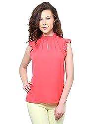 XnY Reddish Pink Frill Collar Top