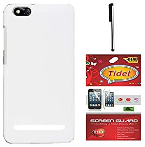 Tidel Ultra Thin and Stylish Rubberized Back Cover for Xiaomi Mi 4i (White) With Tidel Screen Guard & Stylus