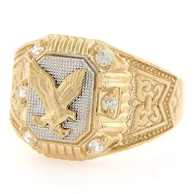 9ct Two Colour Gold Eagle CZ Fancy Mens Ring Jewellery