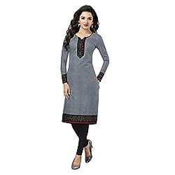 Stylish Girls Women Cotton Printed Unstitched Kurti Fabric (SG_K110_Grey_Free Size)
