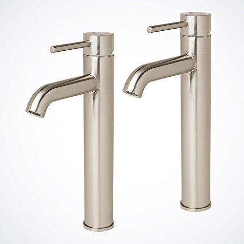 2pcs Modern Vessel Sink Bathroom Faucet Vanity Lavatory Brushed Nickel
